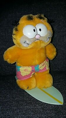 Vintage 8 Inch Garfield Cat Soft Toy Surfboard Holiday Shorts Collectable