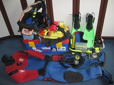 scuba diving equipment, Drysuit, BCD, Regs, Cylinders, reels, mask, and fins