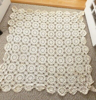 "66"" x 66"" Antique Crocheted Off-White Ecru Tablecloth"