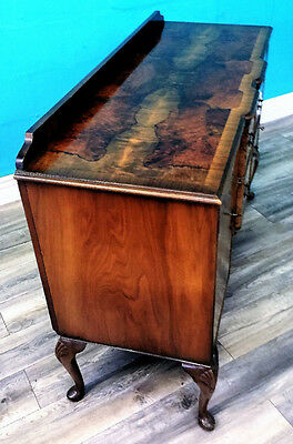 Superior Quality Antique Figured Walnut Breakfront Queen Anne Style Sideboard