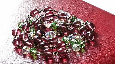 Czech Wired Purple Green And AB Glass Bead Necklace Vintage Deco Style