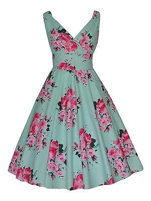 Summer Holiday Tea Party Bridesmaid Rose Print Floral Cotton Dress New Size 16