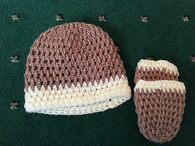 Baby Knitted Hat And Gloves - Brown & Cream  - 0-6 Months