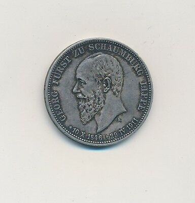1911 Germany Schaumberg Lippe 3 Mark Silver-Very Nice German Coin-Ships Free!