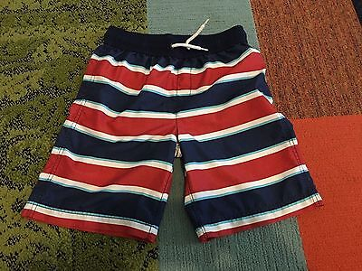 Lands' End Boys Swim trunks Board Red White Blue shorts Swimsuit M 10-12