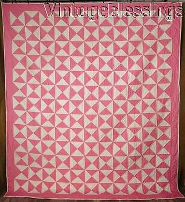 "Large! Never Used VINTAGE 30-50s Pink White Broken Dishes QUILT 96"" x 83"""