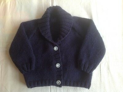 Hand Knitted Baby Cardigan (3-6 months) Navy Blue