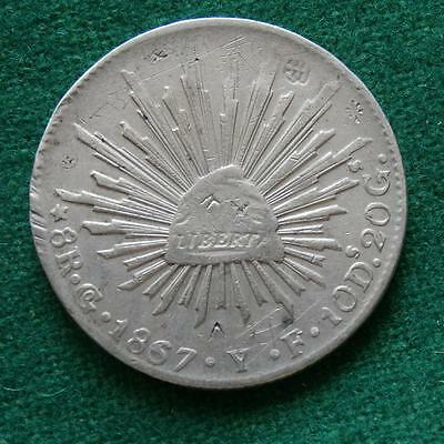 1867 MEXICO SILVER  8 Reales  Coin Go YF chops Caps & rays