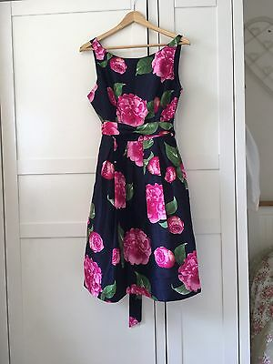Summer Wedding Prom Evening Party Floral Pink & Navy Dress