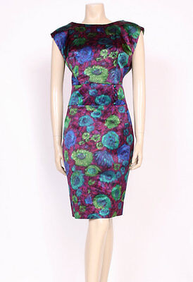 ORIGINAL VINTAGE 1950's 50's PURPLE BLUE ROSE PRINT SILKY WIGGLE DRESS! UK 16