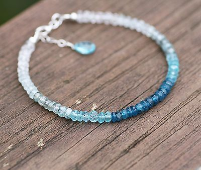 Natural Neon Blue Apatite Zircon & Aquamarine Stacking Bracelet Sterling Silver