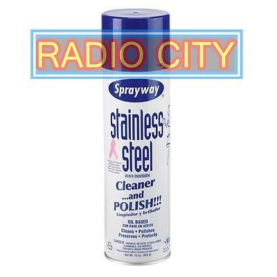Sprayway Stainless Steel Cleaner Polish Oil-Based Spray 15oz Can