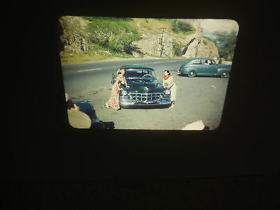 #10 1950's Red Border Kodak Photo Slide HONOLULU Pretty Girl Models Cadillac Car