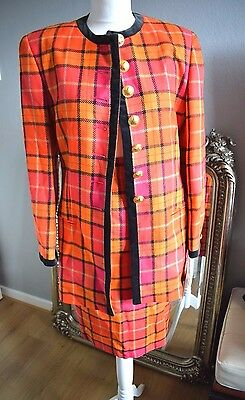 Designer MONDI Vintage Checked Jacket & Skirt Suit - Pure New Wool - Size 34