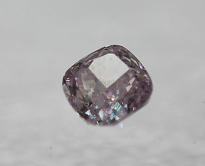 Certified 0.53 Fancy Pink SI2 Cushion Enhanced Natural Diamond 4.92x4.88m 2VG