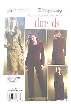 Oop Simplicity threads 3962 skirt pants lined jacket size 20-28 step by step NEW