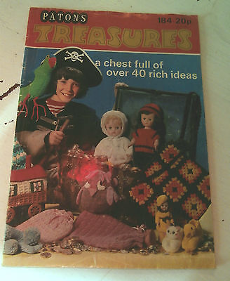 Vintage Patons 184 Treasures 40 knitting crochet patterns Peter Pixie Ski Doll