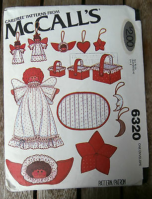 Oop McCalls 6320 Christmas hearts angels stars baskets decorations NEW