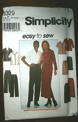 Oop Simplicity 8329 shirt skirt pants easy to sew size 12-16 NEW A