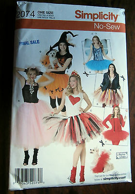 Oop Simplicity 2074 No Sew Misses costume small dog punk laupner one size NEW