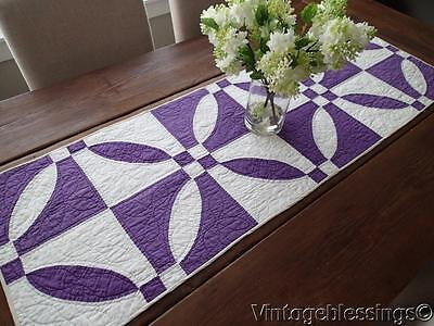 Vintage 30s Rich Purple & White Table QUILT RUNNER 50""