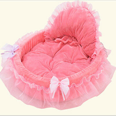 Cat Dog Puppy Princess Bowknot Lace Ruffle Soft Bed Doghouse Pet Warm Bed Fancy