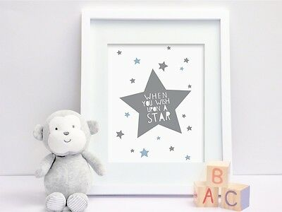 Wish upon a Star - Grey & Blue - Nursery Print - Children's Wall Art - Baby