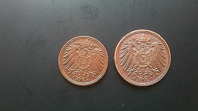 Germany Empire 1, 2 Pfennigs Coins