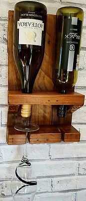 Handmade Chunky Rustic Solid Wooden Wine Rack - 100% Solid Wood