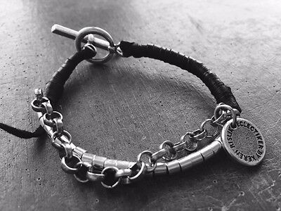 Silver Bracelet Black Leather 2 Rows T Closure Handmade Street Style Unisex New