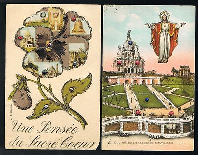 Sacre Coeur Novelty Postcards x 2 #8645