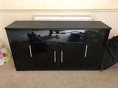 Black High Gloss Tv Unit And Sideboard