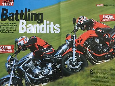 SUZUKI GSF600 BANDIT vs 650 BANDIT - ORIGINAL 4 PAGE MOTORCYCLE COMPARISON TEST