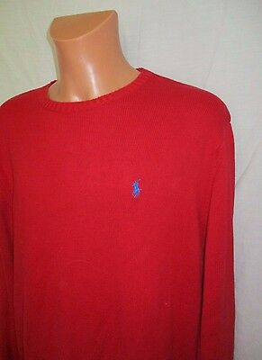 XL Men's POLO by RALPH LAUREN crew neck red cotton knitted jumper sz XL great co