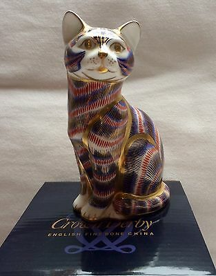Royal Crown Derby Imari Striped Cat Paperweight In Box