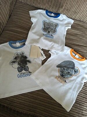 Brand New Armani Baby Boys Tops T-Shirts 3 Pack Age 9M Months 6-9 RRP £90