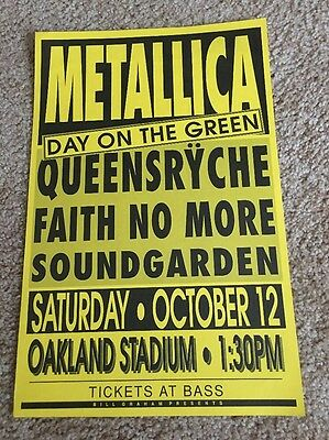 Vintage Metallica Day On The Green 1991 Poster Soundgarden Oakland Rare