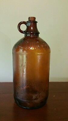 CLOROX Amber Brown Textured Glass Bottle Jug Half Gallon 64 oz Antique Vintage