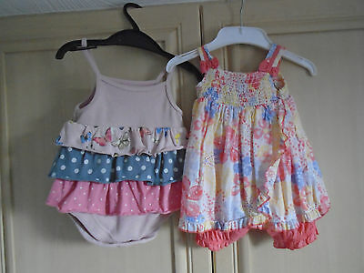 2 baby girls outfits 1 bodysuit/1playsuit age0/3months by baby next