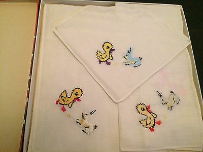Vintage Child's Handkerchiefs Bunnies & Chicks In Original Box