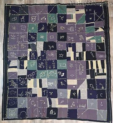 "Dated 1924 ANTIQUE Childs Sampler FOLK ART QUILT  67"" x 61"""