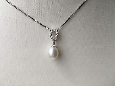 Sterling Silver 925 With Genuine Freshwater Pearl Pendant Necklace With Gift Box