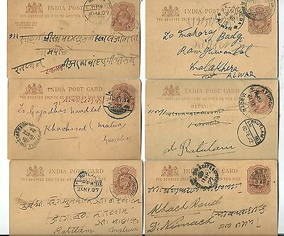 6 India Post Office - King Edward Vii - Franked Post Cards With Post Marks