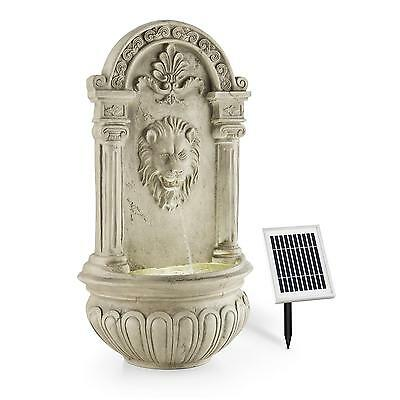 Elegant Lion Carved Wall Mounted Garden Home Fountain Solar Panel 2 W Led Light
