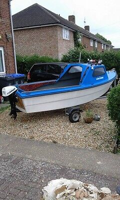 fishing boat 14ft solar jiffy. trailer evinrude 6hp outboard motor