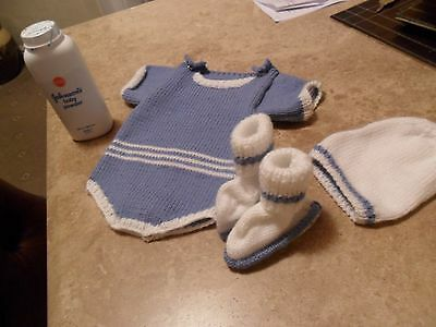Hand Knitted 0-6 months Blue Romper Suit Hat & Bootees - Free Gift - Baby Shower