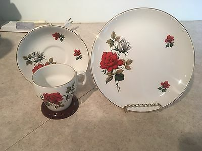 Vintage Brexton 8088 Red Rose Tea Cup Sets & Luncheon Plates, Set of 2, England