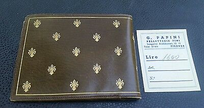 Antique G.Papini Leather Wallet Firenze Gold Print Vtg Italy Original Paperwork