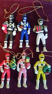 MIGHTY MORPHIN POWER RANGERS  Christmas Ornaments SABAN 1995 Set Of Six