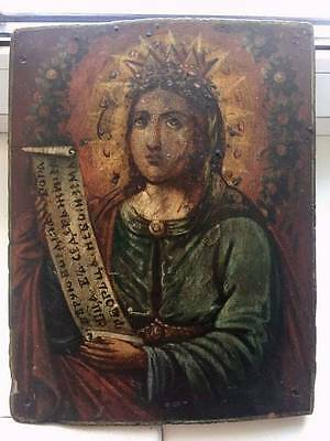 SAINT BARBARA - ANTIQUE OLD RUSSIAN HAND PAINTED WOODEN ICON, 300mm x 240mm